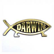 Darwin Fish Car Badge (Gold)